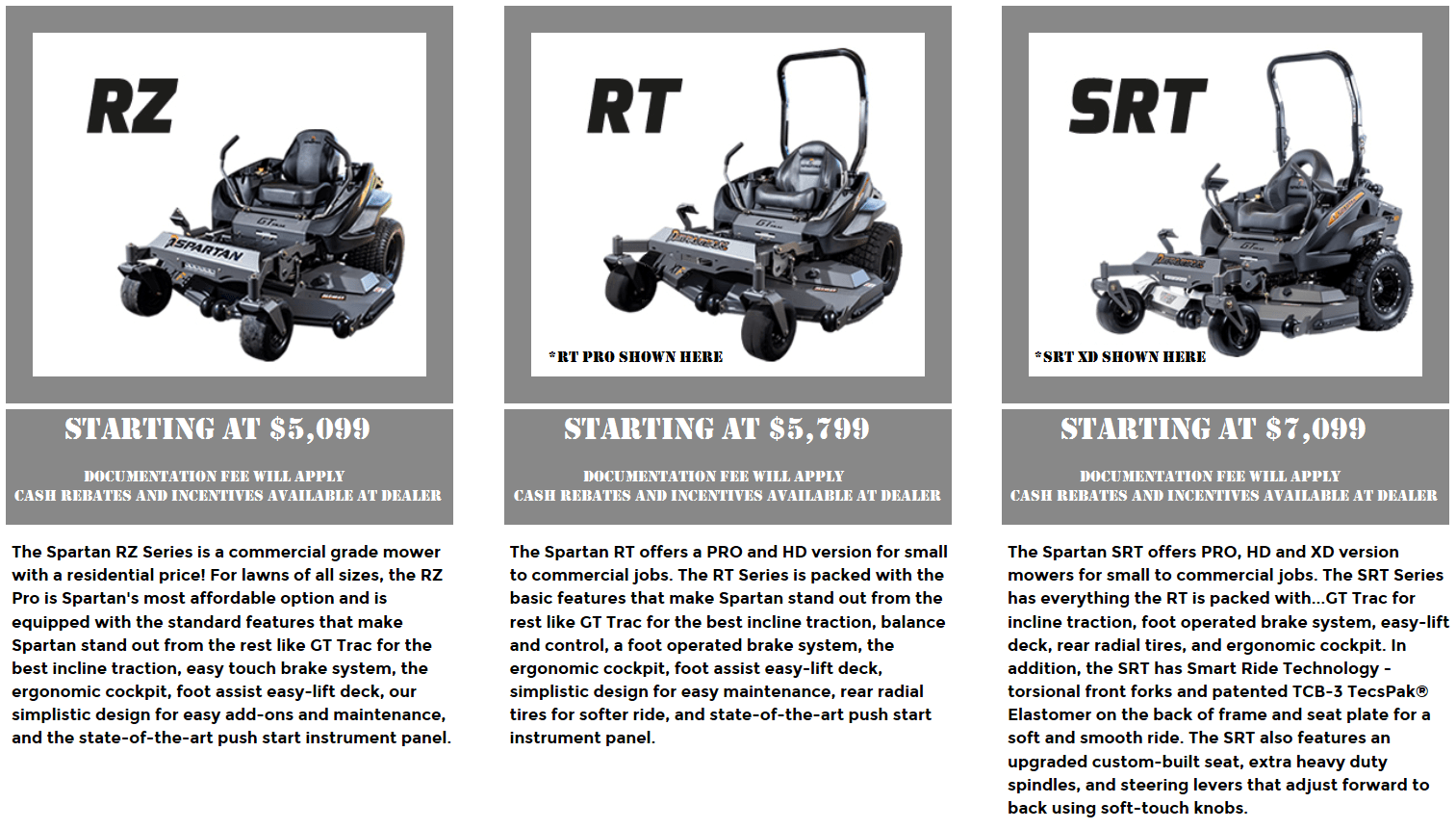 Photo of Spartan RZ, RT, and SRT Mowers